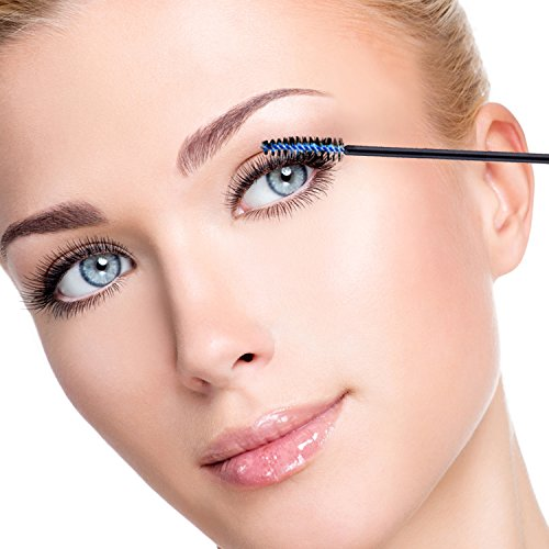 EBoot 300 Pieces Multicolor Disposable Mascara Wands Eyelash Eye Lash Brush Makeup Applicators Kit 6 Colors