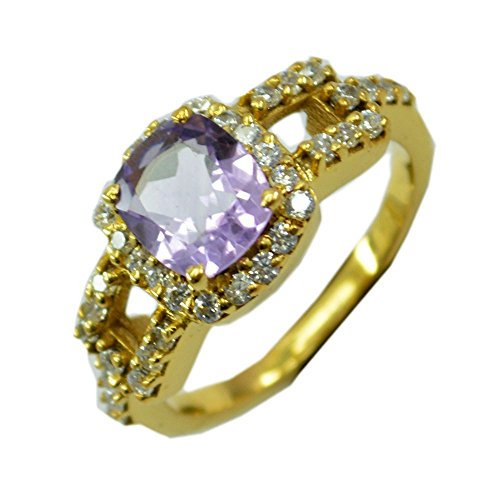 Amethyst Cushion Shape - Jewelryonclick Purple Cushion Shape Gold Plated Amethyst CZ Halo Engagement Ring Women Gift Size 5-12