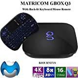 Matricom G-Box Q3 Quad/Octo Core Android TV Box [2GB/16GB/4K] Ready To Watch (Supports Amazon Prime Video) with Mini 2.4GHz (Backlit Remote) Wireless Touchpad Keyboard