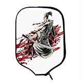 YOLIYANA Japanese Durable Racket Cover,Asian Assassin with Sword Bloody Background Professional Killer Eastern Mythology for Sandbeach,One Size