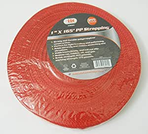 new red pp strapping 1 inch x 165 feet polypropylene construction 215 pound weight. Black Bedroom Furniture Sets. Home Design Ideas