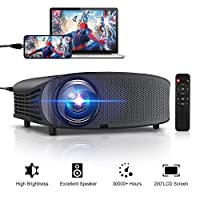 """GBTIGER 4000 Lumens Projector Connect to Smartphone, Video Projector 200"""" LCD Home Theater Projector Full HD Support 1080P HDMI VGA AV USB MicroSD for Home Entertainment, Movie Party and Games"""