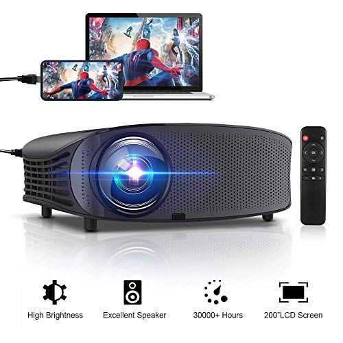 """Projector, GBTIGER 4000 Lumens Outdoor Indoor Movie Projector, Support Full HD 1080P LED LCD Video Projector, 200"""" Display, Compatible with Fire TV Stick PS4 HDMI USB VGA AV (Black) from GBTIGER"""