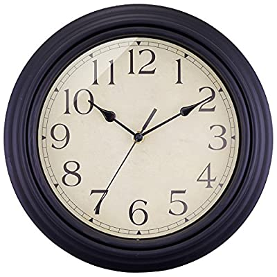 """BELIFE 12"""" Vintage Arabic Numeral Design Round Wall Clock for Living Room & Home & Office Battery Operated,Black Industrial Style - NON TICKING: Quiet sweep second hand, no ticking to ensure a good sleeping or working environment CLEAR TO READ: Large numbers and clear glass lens guarantee good view, even from side BEAUTIFUL AND PRACTICAL: Shatter-proof, scratch-resistant acrylic crystal cover to ensure protection from dust and debris with sturdy plastic frame.Special and elegant design meet all your decoration need - wall-clocks, living-room-decor, living-room - 51i8p Lfk6L. SS400  -"""