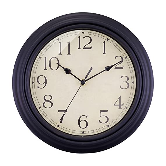 "BELIFE 12"" Vintage Arabic Numeral Design Round Wall Clock for Living Room & Home & Office Battery Operated,Black Industrial Style - NON TICKING: Quiet sweep second hand, no ticking to ensure a good sleeping or working environment CLEAR TO READ: Large numbers and clear glass lens guarantee good view, even from side BEAUTIFUL AND PRACTICAL: Shatter-proof, scratch-resistant acrylic crystal cover to ensure protection from dust and debris with sturdy plastic frame.Special and elegant design meet all your decoration need - wall-clocks, living-room-decor, living-room - 51i8p Lfk6L. SS570  -"