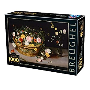 D Toys Puzzle 75833br 04 1000 Pezzi Breughel The Elder Flowers In A Basket And A Vaso