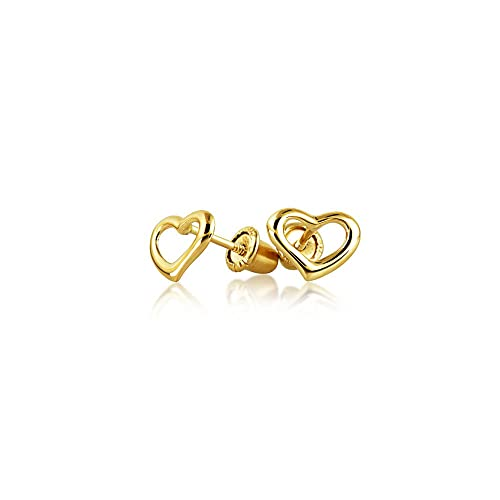 59ce9aeda Tiny Minimalist Open Heart Shaped Stud Earrings For Women For Teen Real 14K  Gold Screwback: Amazon.ca: Jewelry