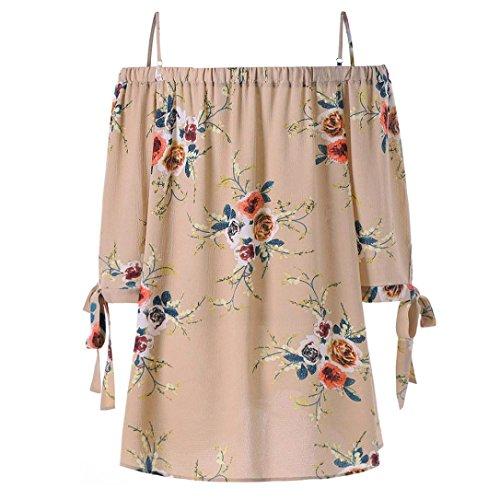 2fbfa0fa1386 MCYs Damen Größe Größe Schulterfrei Blumen Druck T-Shirt Bluse Sommer Tops  Bekleidung Sommerkleider Kleidung