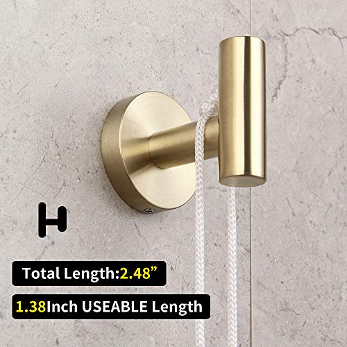 Bathroom Hardware Set 4 Pieces Brushed PVD Zirconium Gold SUS 304 Stainless Steel Bathroom Hardware Accessories Sets Wall Mounted Double Towel Bar Towel Holder Hook Toilet Paper Holder by GERZ (Image #5)