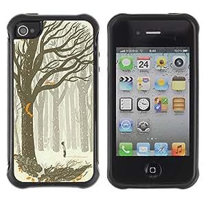 Suave TPU GEL Carcasa Funda Silicona Blando Estuche Caso de protección (para) Apple Iphone 4 / 4S / CECELL Phone case / / Drawing Boy Art Forest Tree /