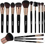 BS-MALL Premium Synthetic Kabuki Makeup brushes 2018 New Makeup Brush Set(14 Pcs,Rose Black)
