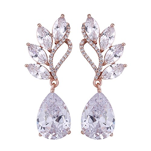 Women's Cubic Zirconia Bridal Earrings - Rose Gold Plated Sterling Silver Teardrop Crystal CZ Rhinestone Cluster Floral Wedding Earrings for Bride Bridesmaids Party Prom Valentine's Day Gift