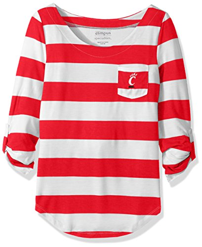 NCAA Cincinnati Bearcats Women's Campus Specialties Striped 3/4 Sleeve Tee, Red/White, X-Large