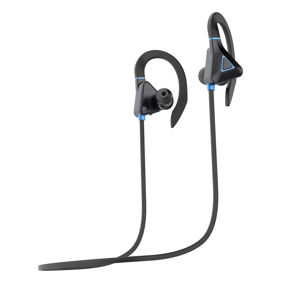 Wired Bluetooth Earset,5.0 Sports Headset Waterproof Long-lasting Bass Headset (Blue) by Promisen