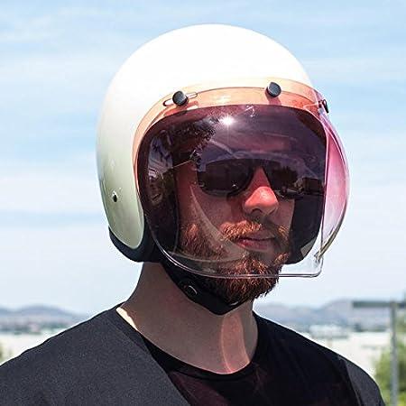 Biltwell Bell DMD Bandit YAM AFX Nolan AGV Bubble Visor Jet Helmet 3 Buttons Universal Approval MULTI TAGLIA Gialla