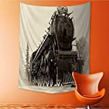 Vertical Version Tapestry Northern Type Steam Train Engine Built Works Railways is in a Vintage Early 20th Century Late 19th Century Throw, Bed, Tapestry, or Yoga Blanket 60W x 91L INCH