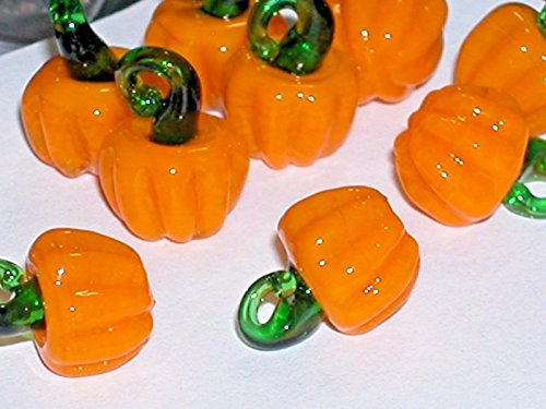 1pc tiny Miniature Halloween PUMPKINS Glass Fruit Lampwork pendant charm bead NW Jewelry Making Supply Pendant Bracelet DIY Crafting by Wholesale (Halloween Lampwork Glass Beads)