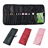 Nylon Roll up Portable Opens Flat Storage Bags Makeup Organizer Make up Bag for Nail Art Tools Kits such as Brushes Pusher Cuticle Scissors (Black)