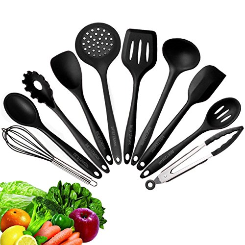 10 Best Kitchen Utensil Set - Cooking Utensils - Kitchen Utensils - Nonstick Silicone Cooking Utensils Set - Silicone Kitchen Utensils Set - Kitchen Gadgets and Tools - Spatulas Heat-Resistant (Kitchen Black Tool)