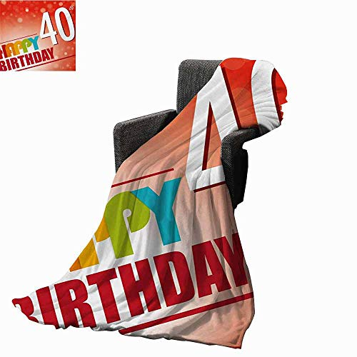 vanfan-home 40th Birthday Faux Fur Throw Blanket,Party Invitation in Vibrant Colored Retro Style and on Bokeh Effect Backdrop Reversible Soft Fabric for Couch Sofa Easy Care (60