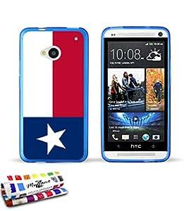 Carcasa Flexible Ultra-Slim HTC ONE / M7 de exclusivo motivo [Bandera Texas] [Azul] de MUZZANO  + ESTILETE y PAÑO MUZZANO REGALADOS - La Protección Antigolpes ULTIMA, ELEGANTE Y DURADERA para su HTC ONE / M7