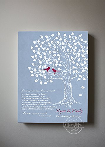 MuralMax - Personalized Family Tree & Lovebirds, Stretched Canvas Wall Art, Make Your Wedding & Anniversary Gifts Memorable, Unique Decor, Color Blue # 5 - Size 11x14 - 30-DAY