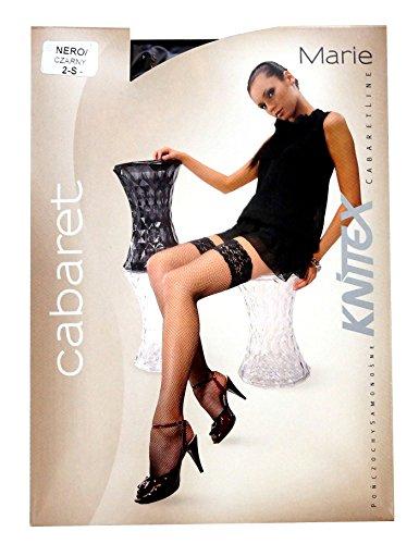 Knittex Marie Halterlose Damen Netz Strümpfe mit Spitze Pantyhose Stockings mit elastischen Abschlußband mit antirutsch Silikonbeschichtungund sehr feiner Masche Schwarz Schwarz
