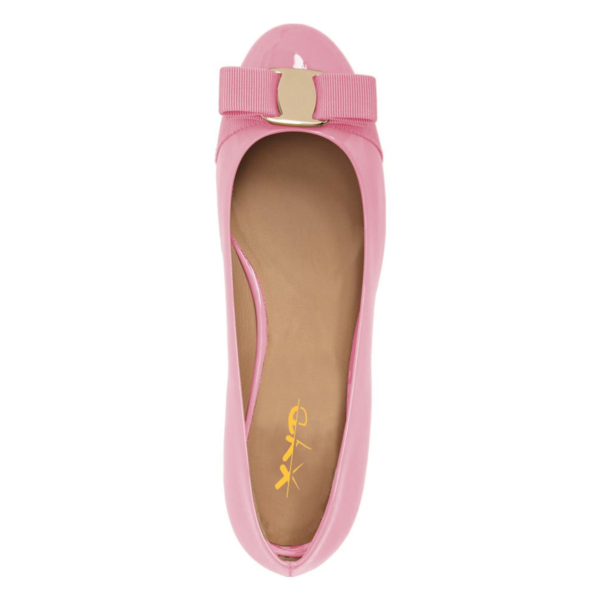 XYD Women Cute Bows Round Toe Ballet Flats Slip On Shoes Patent Basic Office Daily Shoes On B07CNL815L 10 B(M) US|Pink a2586c
