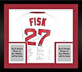Framed 1975 Boston Red Sox Autographed Majestic White Carlton Fisk Jersey - Fanatics Authentic Certified