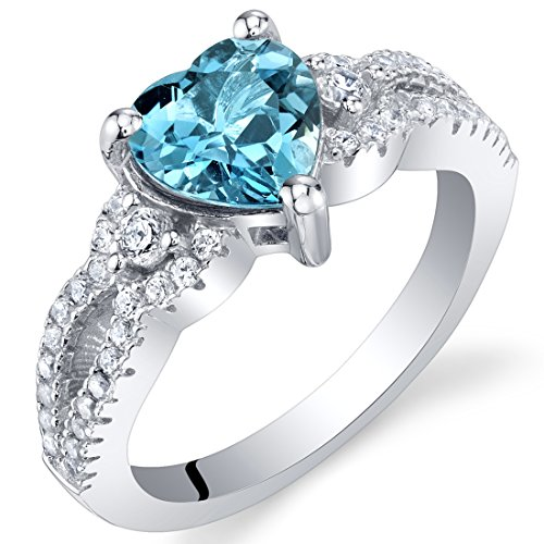 London Blue Topaz Sterling Silver Heart Soulmate Ring Size 7