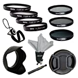 Vivitar 55mm Professional Deluxe 7-Piece Accessory Filter Kit with Carson Optical Stuff-It Microfiber Cloth, includes Multi-Coated 3 PC Filter Kit (UV, CPL, ND), +1 +2 +4 +10 Close-Up Macro Filter Set, Hard Tulip Lens Hood, Filter Carry Case + Snap-On Len
