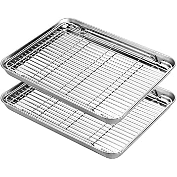 Stainless Steel Baking Sheets with Rack, HKJ Chef Cookie Sheets and Nonstick Cooling Rack & Baking Pans for Oven & Toaster Oven Tray Pans, Rectangle Size 12.5L x 11W x 1H inch & Non Toxic & Healthy