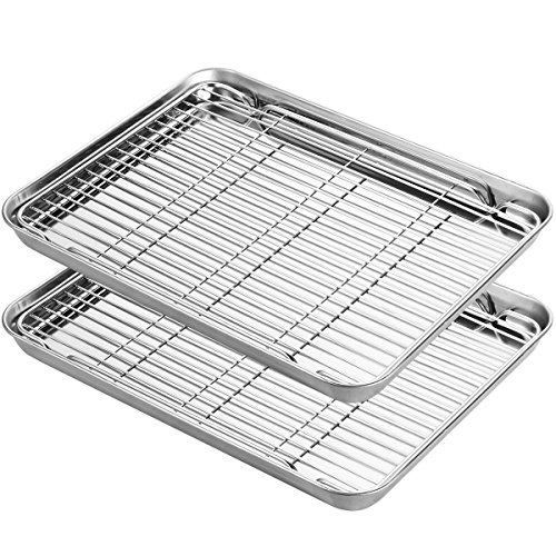 Stainless Steel Baking Sheets with Rack, HKJ Chef Cookie Sheets and Nonstick Cooling Rack & Baking Pans for Oven & Toaster Oven Tray Pans, Rectangle Size 12L x 11W x 1H inch & Non Toxic & Healthy by HKJ Chef