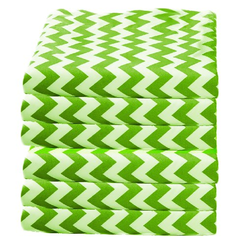 Babydoll Bedding 6 Piece Toddler Fitted Sheets Daycare Crib, Green/Chevron