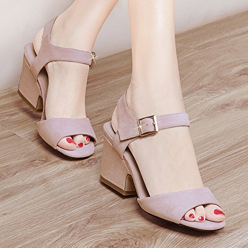 KHSKX-Coarse Fish Mouth Shoes Sandals With Korean Female With Coarse Fish Mouth All-Match High-Heeled Shoes Thirty-five UYISBVo
