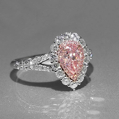 Waldenn 3.5ct Cute Pear Cut Pink Cz 925 Silver Womens Wedding Engagement Ring Size 5-10 | Model RNG - 26591 | 6 ()