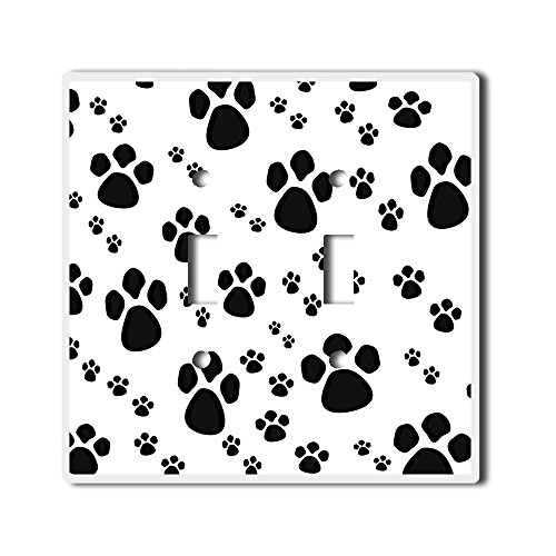 Multi Colored Paw Prints - Light Switch Double Toggle Wall Plate Cover By InfoposUSA Paw Prints Black