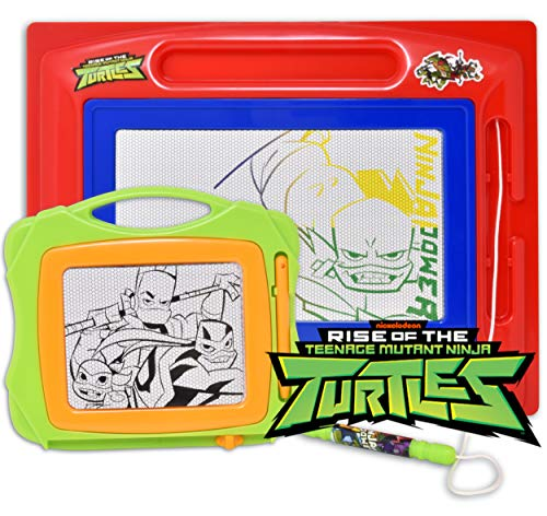 Teenage Mutant Ninja Turtles Magnetic Drawing Board, Large Erasable Magna Doodle Sketching Pad with Travel Size Sketcher to Color, Draw and Erase for Kids, Toddlers, Boys & Girls