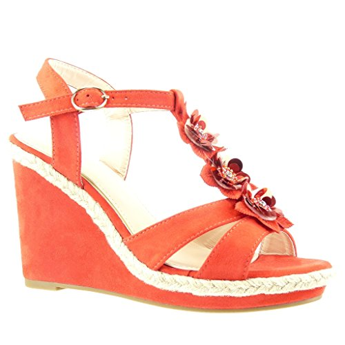 Angkorly Women's Fashion Shoes Sandals Espadrilles - t-Bar - Platform - Thong - Flowers - Rhinestone Wedge Platform 11 cm Red