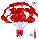 Heart Balloons - 100 PCS 12 inches Red and White Latex Balloons for Wedding Decorations, Bride Shower, Birthday Party, Baby Shower, Halloween Decorations with an Air Pump