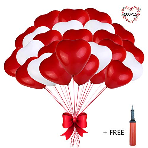 Heart Balloons - 100PCS 12 inches Red and White Latex Balloons for Wedding Decorations, Bride Shower, Birthday Party, Valentines day Balloons, Christmas party decorations with an Air Pump ()