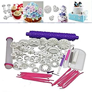68PCS DIY Cake Decoration Mold Mould Tool Set with Plunger Fondant Marzipan Icing Flower Modelling Tools Kit Baking Cutter Bakeware Sugarcraft Knife Trowel Border Ornament Smoothing Tool