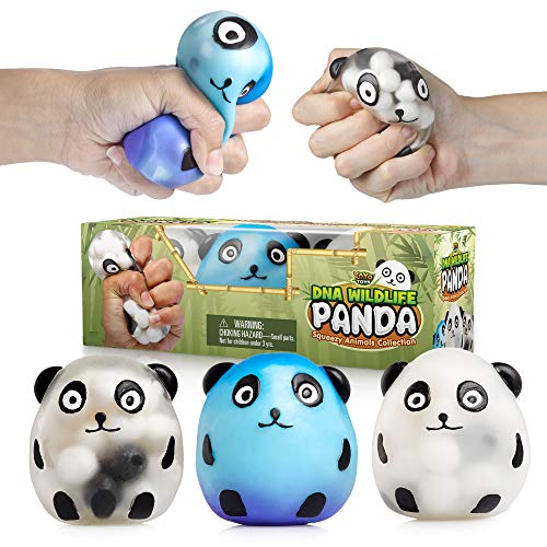 Panda Gift (YoYa Toys DNA Wildlife Panda Stress Ball [3-Pack] | Stimulating & Calming Sensory Squishy Balls for Kids & Adults | Squishies for Autism, Fidgeting, ADHD & Quitting Bad Habits | Durable & Non-Toxic)