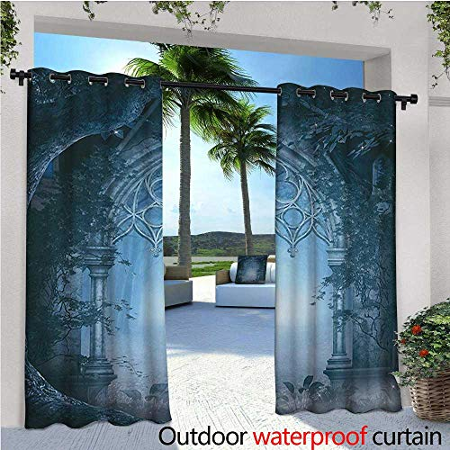 e Standing Outdoor Privacy Curtain Passage Doorway Through Enchanted Foggy Magical Palace Garden at Night View for Front Porch Covered Patio Gazebo Dock Beach Home W96 x L108 Na ()
