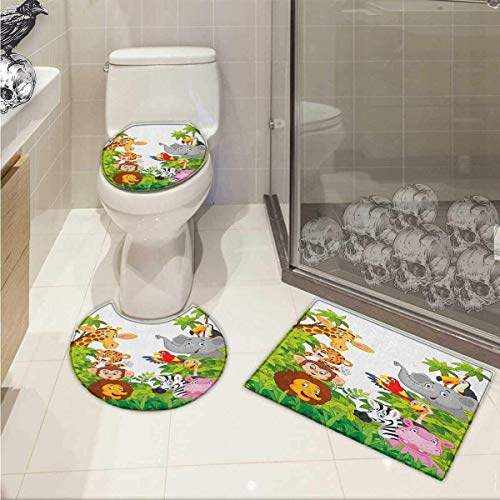 Nursery 3 Piece Toilet Cover Set Cartoon Style Zoo Animals Safari Jungle Mascots Collection Tropical Forest Wildlife Pattern Rug Set Multicolor -