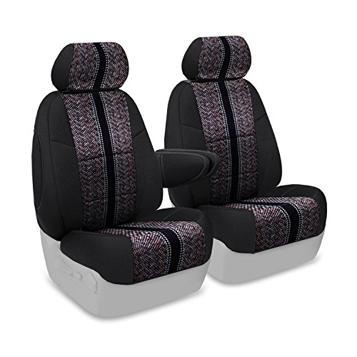 Coverking Custom Fit Front 50/50 Bucket Seat Cover for Select Lincoln Town Car Models - Saddleblanket (Black with Neosupreme Black Sides) ()