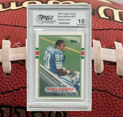 Barry Sanders 1989 Topps Traded Rookie Card PGI 10 Detroit Lions Hall of Fame (Sanders Barry Fame Of Hall)