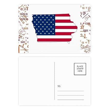 Iowa USA Mapa Estrellas Rayas Bandera Forma Fórmula Postal ...