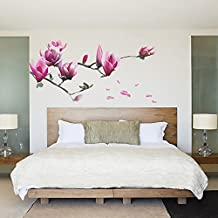 Soledi® Vinyl Magnolia Flower Wall Decal Tree Floral Home Room Office Decor Wall Sticker Mural Art Wall Decor Living Room