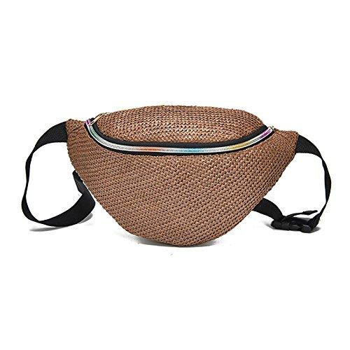 SODIAL moda tejido cintura paja paquetes mujeres cintura bolso correa bolsa pecho ocasional bolso bandolera marron Marron